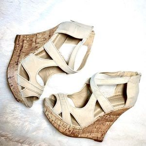 Liliana Beige Wedge Shoes- size 8